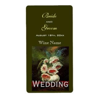 Vintage floral wedding wine labels