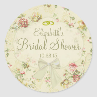 Vintage Floral  White Bow Bridal Shower Classic Round Sticker