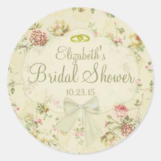 Vintage Floral  White Bow Bridal Shower Round Sticker