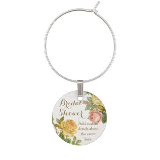 Vintage Floral Whitewash Spring Bridal Shower Wine Charm
