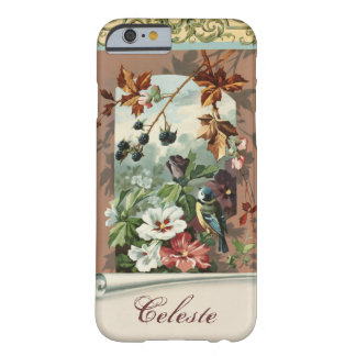 Vintage Floral with Blue Bird Personalized Barely There iPhone 6 Case