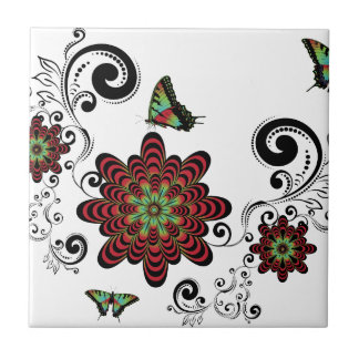Vintage Floral with Butterflies Small Square Tile