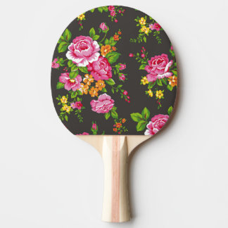 Vintage Floral with Pink Roses Ping Pong Paddle