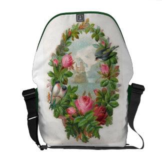 Vintage Floral Wreath Messenger Bag