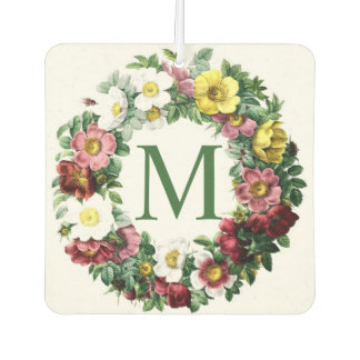 Vintage Floral Wreath Monogram