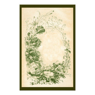 Vintage Floral Wreath Print Stationery