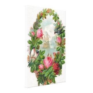 Vintage Floral Wreath Stretched Canvas Print