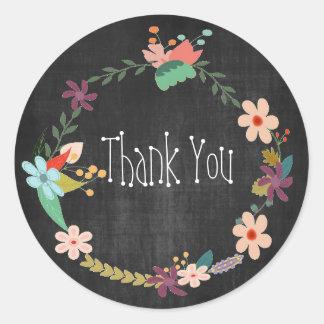 Vintage Floral Wreath Thank You Round Sticker