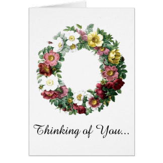 Vintage Floral Wreath Thinking of You Card