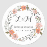 Vintage Floral Wreath Wedding Favour Sticker