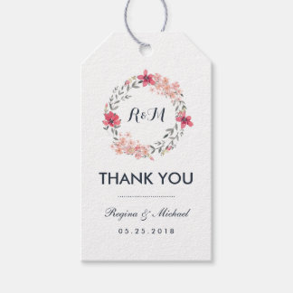 Vintage Floral Wreath Wedding Thank You Gift Tag