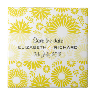 Vintage floral yellow Save the date Tile