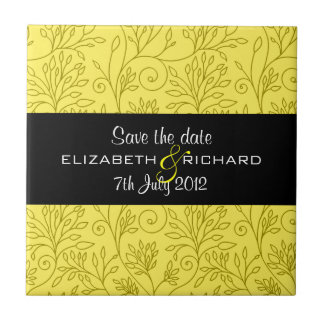 """Vintage floral yellow """"Save the date"""" Tile"""