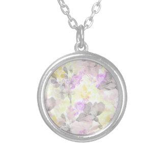 Vintage florals round pendant necklace