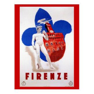 Vintage Florence 1930s Italian travel ad Postcard