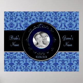 Vintage Florentine Damask (Blue) (Wedding) Poster