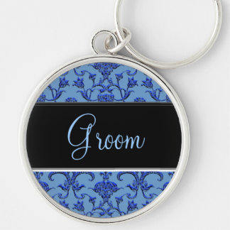 Vintage Florentine Damask (Blue) (Wedding) Silver-Colored Round Key Ring