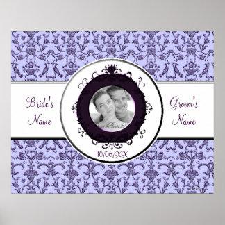 Vintage Florentine Damask (Lilac) (Wedding) Poster