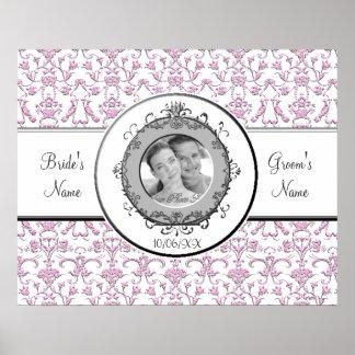 Vintage Florentine Damask Pink Wedding Poster