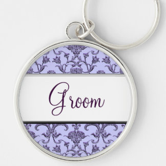 Vintage Florentine Damask (Wedding) Silver-Colored Round Key Ring