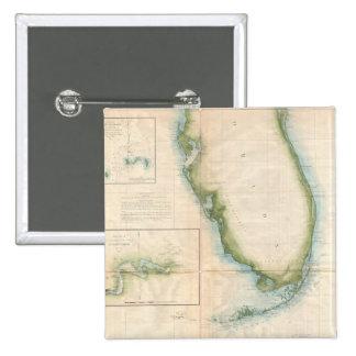 Vintage Florida Map 15 Cm Square Badge