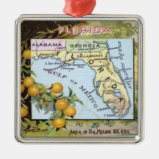 Vintage Florida Map Metal Ornament