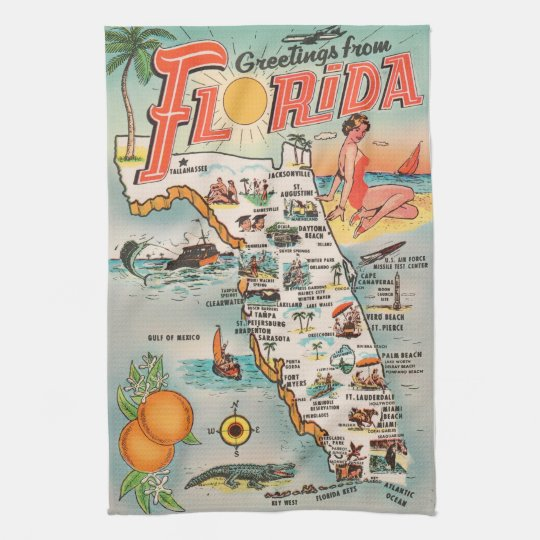 Florida Attractions Map.Vintage Florida Map Of Attractions Tea Towel Zazzle Com Au