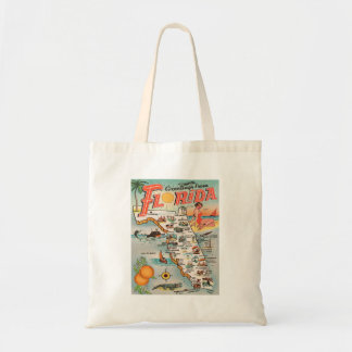 Vintage Florida map of attractions Tote Bag