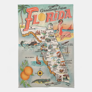 Vintage Florida map of attractions Towel