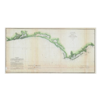 Vintage Florida Panhandle Coastal Map (1852) Poster