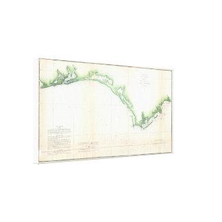 Vintage Florida Panhandle Coastal Map (1852) Stretched Canvas Prints