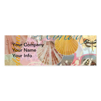 Vintage Florida Travel Beach Shells Collage Pack Of Skinny Business Cards