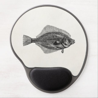 Vintage Flounder Fish Aquatic Fishes Template Gel Mouse Pad