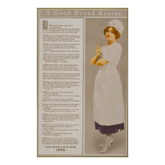 Vintage Flour Ad with Bread Recipe Poster