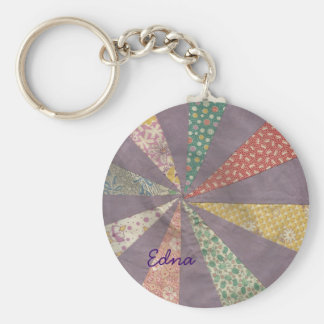 Vintage Flour Sack Fabric Quilt Block Key Chain