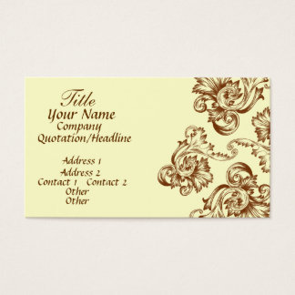 Vintage Flourish (Light Brown) Business Card