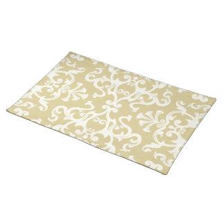 Vintage Flourish Motif Pattern in Cream Placemat Cloth Placemat