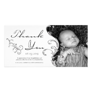 Vintage Flourish New Baby Thank You Card Personalized Photo Card