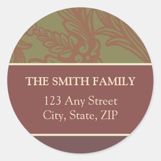 Vintage Flourish Olive/Rose Return Address Sticker