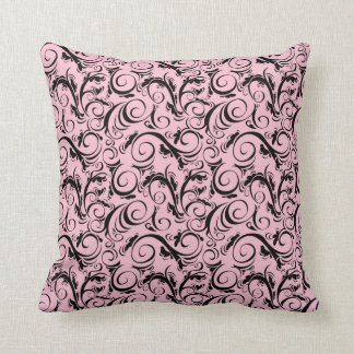 VINTAGE FLOURISH PATTERN, Pink & Black Cushion