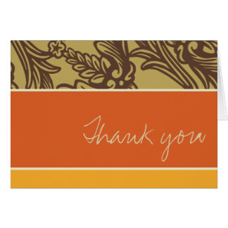 Vintage Flourish Tangerine Thank You Card