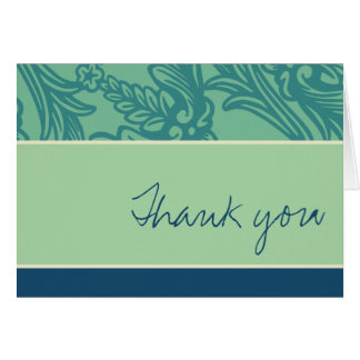 Vintage Flourish Teal Thank You Card