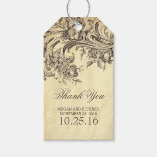 Vintage Flourishes Chic Wedding Thank You Gift Tags
