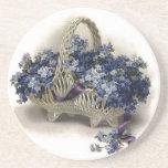 Vintage Flower Basket Forget-Me-Not Coaster