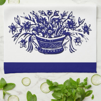 Vintage Flower Basket in Blue Kitchen Towel