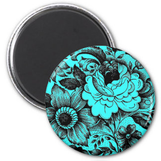 Vintage Flower Bouquet Graphic Art Damask Style 6 Cm Round Magnet