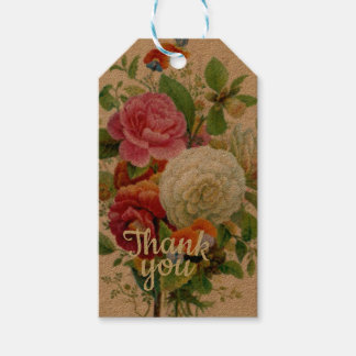 Vintage Flower Bouquet Thank You Gift Tags