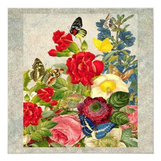 Vintage Flower Bouquet with Butterflies 13 Cm X 13 Cm Square Invitation Card