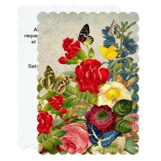 Vintage Flower Bouquet with Butterflies Card