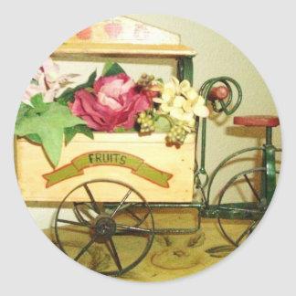 vintage flower cart stickers,matches postage stamp classic round sticker